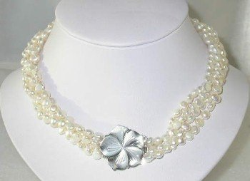 "Lustrous 17"""" 4-rows white pearl shell clasp"
