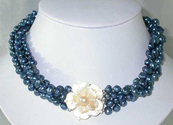 """Lustrous 17"""""""" 4-rows dark blue pearl shell clasp"""