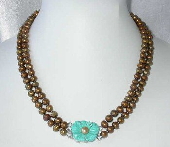 "17""""-18"""" 6-7mm coffee pearl turquoise clasp"