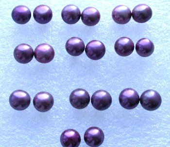 Wholesale 10 pairs 6.5-7mm wine-red pearl S925 earring