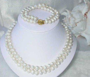 "17""""-18"""" double 8-9mm white pearl necklace set"