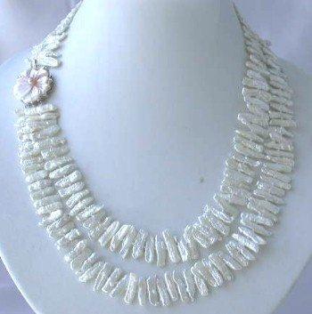 "18""""-19"""" 5*20mm white biwa pearl shell clasp"