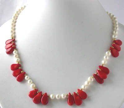 "18"""" white FW pearl red seed coral necklace"