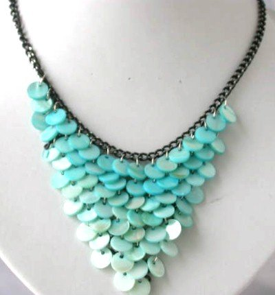10mm blue shell black chain necklace