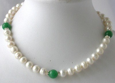 "17"""" 9-10mm white pearl green round jade necklace"