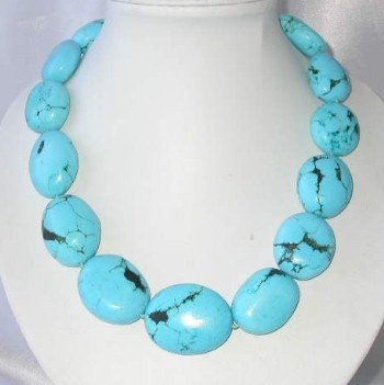 "19"""" bigger blue turquoise beads necklace"