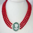 """17""""""""-19"""""""" 3-rows 8mm red round coral agate clasp"""