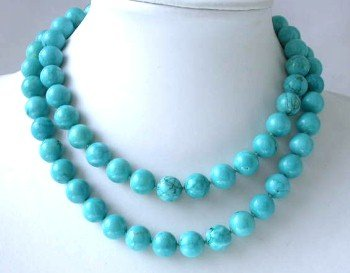 "Brand new 36"""" 12mm blue round turquoise necklace"