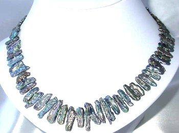 "17"""" 6*20mm peacock biwa pearl necklace"