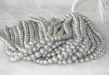 "wholesale 16"""" 9-10mm gray pearl necklace strings"
