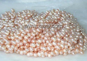 "wholesale 16"""" 7-8mm pink pearl necklace strings"