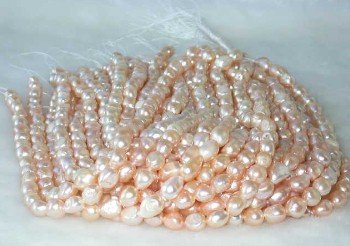 "wholesale Baroque 16"""" pink pearl necklace strings"