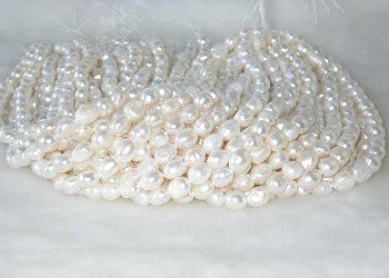 "wholesale Baroque 16"""" white pearl necklace strings"