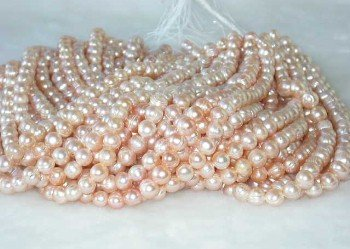 "wholesale 9-10mm 16"""" pink pearl necklace strings"