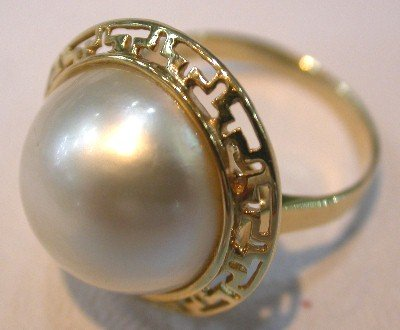 Brand New Exquisite 14K YG 18MM AAA White Mabe Pearl ring