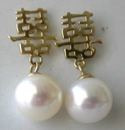 Brand 14K Chinese AA 8MM white pearl dangling earring
