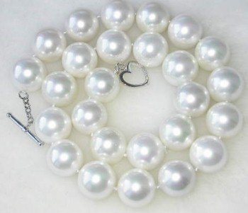 Exquisite 16mm white Sea Shell Pearl&silver clasp Necklace