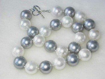 "17"""" 16mm white gray shell pearl-silver clasp"