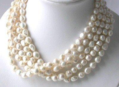 Wholesale 5 pcs baroque 10-11mm white pearl necklace