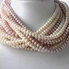 Wholesale 5 pcs 6-7mm pink pearl necklace