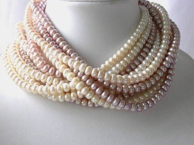 Wholesale 10 pcs 7-8mm multicolor pearl necklace