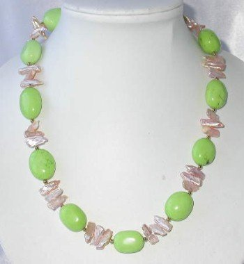 "19"""" green turquoise bead pink biwa pearl necklace"