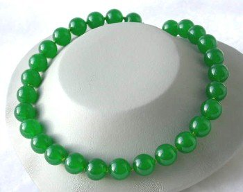 """Beauty 17"""""""" 14mm green round jade necklace"""
