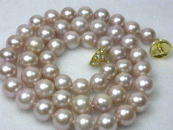 "17"""" lustrous 8-9mm pink round pearl necklace"