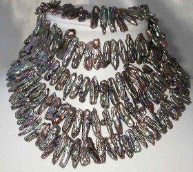 "wholesale 5pcs 17"""" peacock biwa pearl necklace"