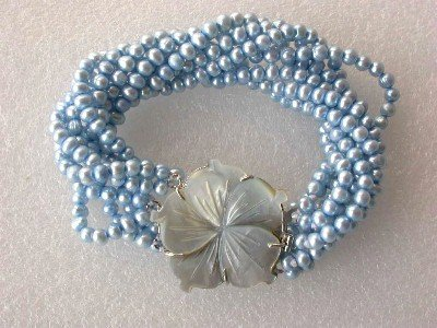 """7.5"""""""" 8-rows 4-5mm blue pearl shell clasp bracelet"""