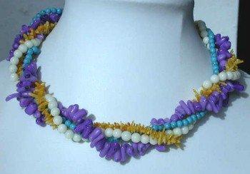"""16"""""""" 4-rows multicolor branch coral necklace"""