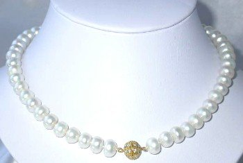 "17"""" bigger 9-10mm white FW pearl necklace"