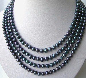"""17""""""""-23"""""""" 4-rows AAA 6-7mm peacock pearl & silver clasp"""