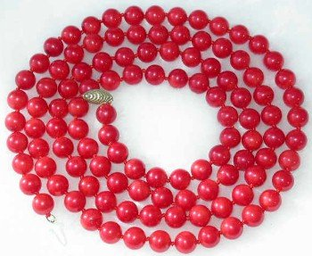 "34"""" 8mm red coral necklace 14K gold clasp"