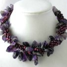 """16"""""""" 4-rows wine red pearl amethyst necklace"""