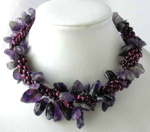 "16"""" 4-rows wine red pearl amethyst necklace"