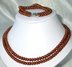 "17""""-18"""" 6-7mm maroon pearl necklace bracelet set"