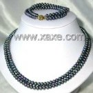 9K double 6-7mm AA peacock pearl necklace/bracelet set