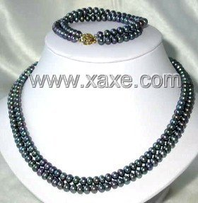 9K double 6-7mm AA peacock pearl necklace/bracelet set
