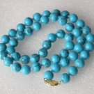 """17"""""""" 8mm blue turquoise round beads necklace"""