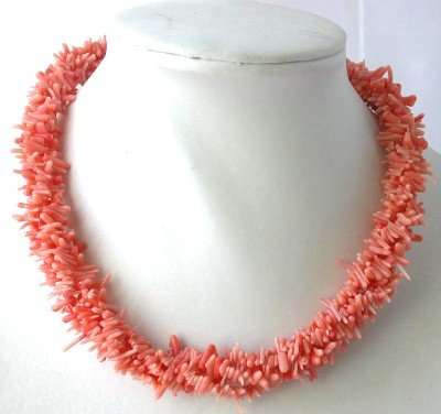 """16"""""""" Three rows pink branch coral necklace"""