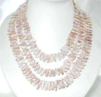 "Long! 55"""" 5*20mm pink biwa pearl necklace"