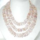 "Long! 55"""" 5*20mm pink biwa pearl necklace"