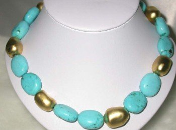 """18"""""""" 15*25mm turquoise-gild beads necklace"""