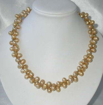 "18"""" double 8-9mm champagne pearl gild beads necklace"