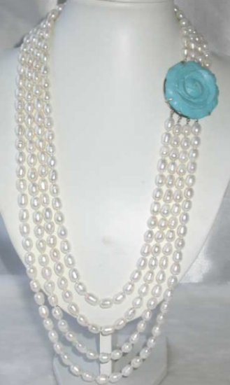 """27""""""""-33"""""""" 4-rows 9-10 white pearl blue turquoise clasp"""