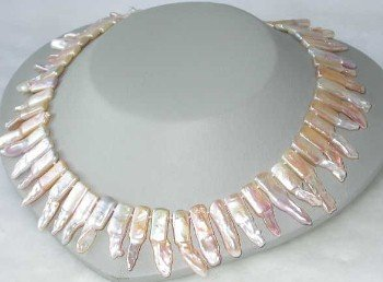 "Graceful 16"""" 8*22mm pink biwa pearl necklace"