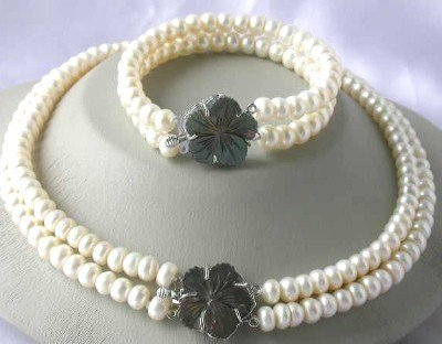 "18""""/7.5"""" 2-rows white pearl shell clasp necklace set"