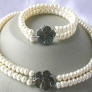 """18""""""""/7.5"""""""" 2-rows white pearl shell clasp necklace set"""