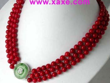 """18""""""""-20"""""""" 3-rows 8mm red round jade clasp necklace"""